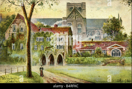 Old vintage Topographical British Picture Postcard sketch of Winchester Cathedral & Deanery posted 1905 FOR - Stock Image