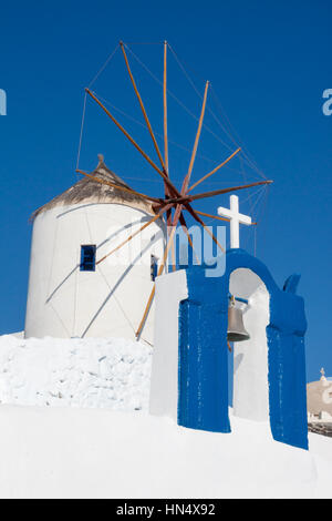 Windmills in Oia Santorini Greece - Stock Image