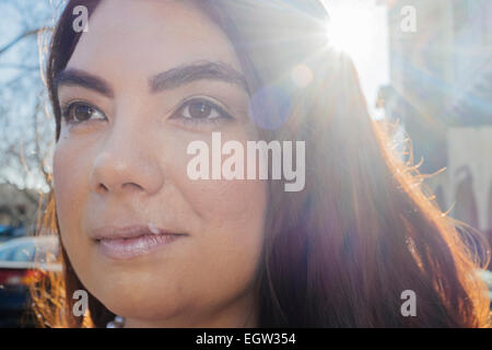 Upclose portrait of woman. - Stock Image