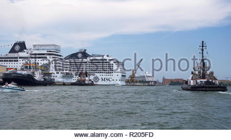 MSC Magnifica moored with other cruise ships in the port of Venice. Italy. - Stock Image