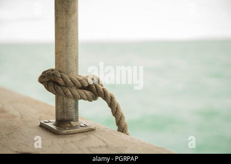 Sail ropes on board the Lord Nelson Tall Ship - Stock Image