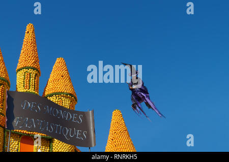 February 16th 2019 Menton, France, a witch flying during the 86th LEMON FESTIVAL - Stock Image