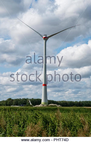 Recently constructed wind generator in northwestern Germany - Stock Image