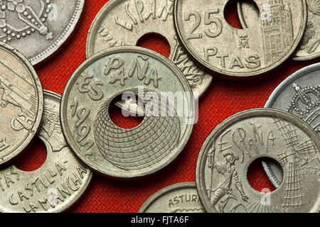 Coins of Spain. Logo for the Seville Expo 92 (Universal Exposition) depicted in the Spanish 50 peseta coin (1990). - Stock Image