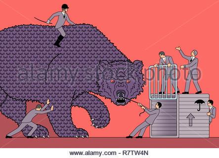 Businessmen in futile struggle with large aggressive bear - Stock Image