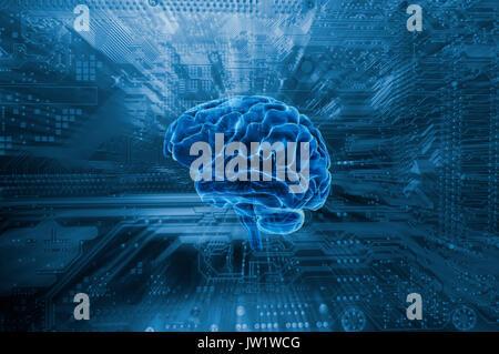 human brain and communication, artificial-intelligence - Stock Image