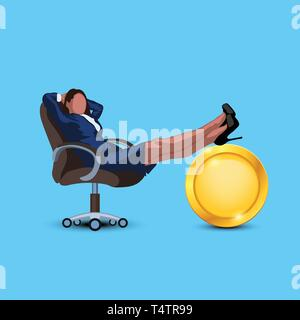 businesswoman resting with coin 01 - Stock Image