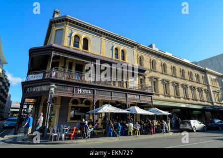 The Austral Hotel, one of Adelaide's popular pubs, on Rundle Mall. Australian pub, Australia, old hotel, eating - Stock Image