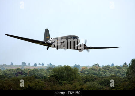 Douglas C-47A Skytrain DC-3 at  Farnborough International Airshow 2014. - Stock Image