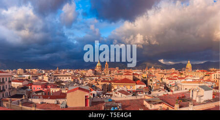Palermo at sunset, Sicily, Italy - Stock Image