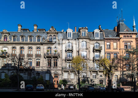 Strasbourg, Alsace, France, row of residential buildings, Wilhelminian style, Neustadt district, - Stock Image