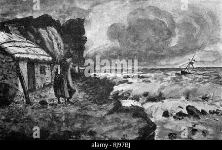 A malicious witch of south- west Scotland calls up a storm which sinks a boat - Stock Image
