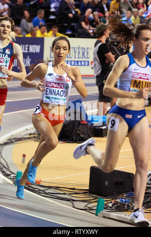 Glasgow, UK: 3rd March 2019: Sofia Ennaoui wins silver in 1500m race on European Athletics Indoor Championships 2019.Credit: Pawel Pietraszewski/ Alamy News - Stock Image