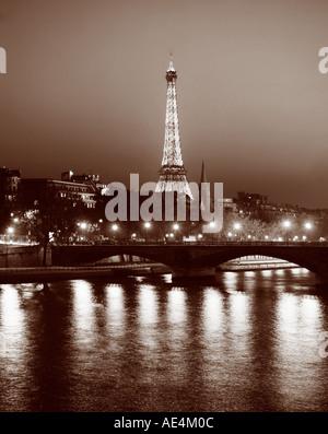 France Paris Eiffel tower sepia  - Stock Image