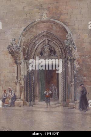 Carl Pippich Eingang zum Dom von Curzola 1911 - Stock Image