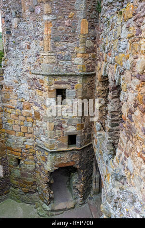 Looking down from one of the towers at Dirleton Castle, near North Berwick, East Lothian, Scotland, UK - Stock Image