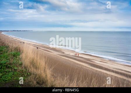 Dunwich beach Suffolk, view from cliffs overlooking Dunwich beach of people walking along the Suffolk coast, England, UK. - Stock Image