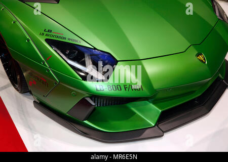 Close-up of the front of a  liberty Walk  modified Lamborghini Aventador, on display at the 2018 London Motor Show - Stock Image