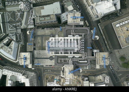 Aerial view of the Lloyds of London building, taken vertically over the City of London landmark building - Stock Image