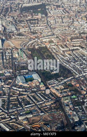 Aerial view of Brompton cemetery and Stamford Bridge football stadium - Stock Image