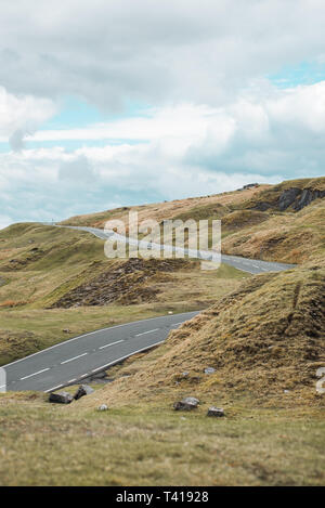 Road through the Brecon Beacons, Wales, United Kingdom - Stock Image