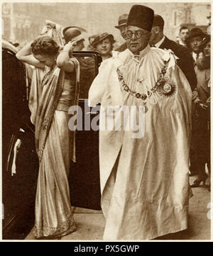 Sir Sultan Muhammed Shah, Aga Khan III with his wife the Begum Aga Khan attending the coronation of King George the sixth at Westminster Abbey on May 12 1937. He was the 48th Imam of the Nizari Ismaili religion and was the co-founder and the first president of the All India Muslim League AIML - Stock Image