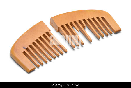 Broken Wood Hand Comb Isolated on White Background. - Stock Image