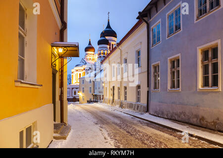 Winter dawn in Tallinn old town with Alexander Nevsky orthodox church in the distance. - Stock Image