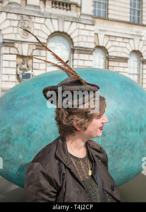 London, UK. 17th April, 2019. A giant bronze egg sculpture, 'Oeuvre', by Gavin Turk, is unveiled at Somerset House. The bronze egg is intended as a starting point and inspiration for photographers around the world to Collaborate with Gavin on an ambitious public installation for Photo London, titled 'Gavin Turk - Portrait of an Egg'. All that is required to take part is a digital photographic devise with which to record their own 'Portrait of an Egg. Credit: Malcolm Park/Alamy Live News. - Stock Image