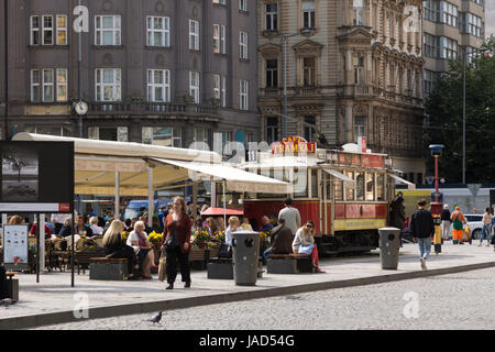 Cafe Tramvaj on a summer's day, a converted tram in Prague, Czech Republic - Stock Image