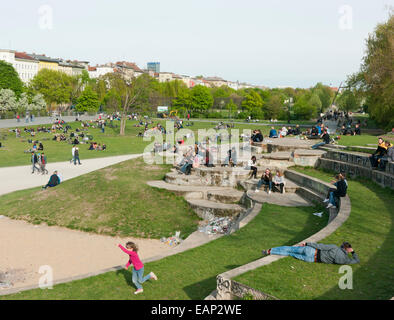 People at Görlitzer Park Kreuzberg in Berlin Germany - Stock Image