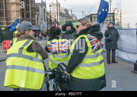 London, UK.  9th January 2019. Protests by stop Brexit group SODEM (Stand of Defiance European Movement) and pro-Brexit campaigners continue opposite Parliament. Among the pro-Brexit campaigners were again some extreme-right 'yellow jackets', most of whom were fairly subdued. Credit: Peter Marshall/Alamy Live News - Stock Image