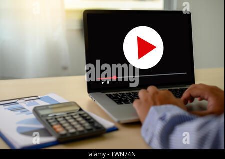 VIDEO MARKETING Audio Video , market Interactive channels , Business Media Technology innovation Marketing technology concept - Stock Image