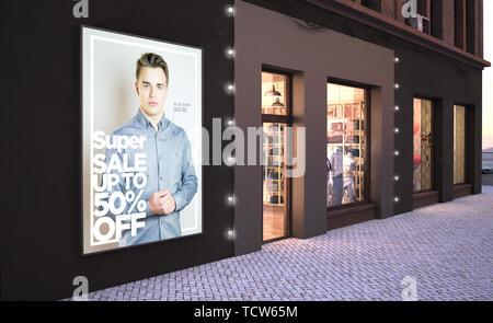 fashion sale poster on a wall near fashion store 3d rendering mockup - Stock Image