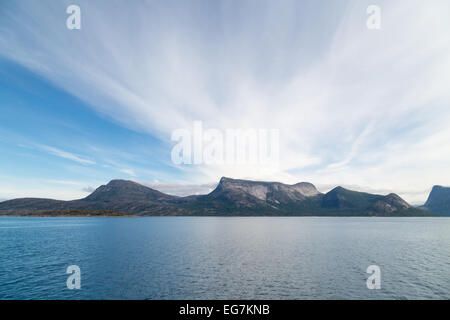 Picture of mountains with blue sea and sky - Stock Image