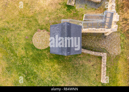 Schladen, Germany, December 11., 2018: Vertical photograph of the west tower of the imperial palace Werla, a fortification of the early Middle Ages in - Stock Image