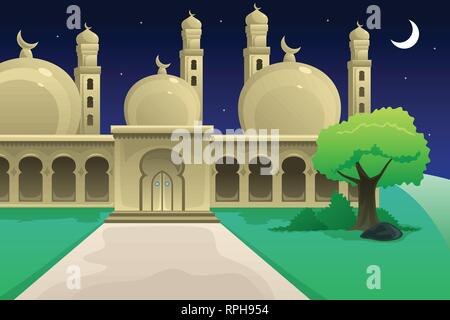 A vector illustration of Islamic Mosque at Night Time - Stock Image