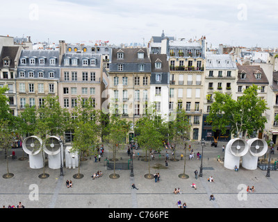 View of shops and narrow houses from Georges Pompidou Centre Paris France EU - Stock Image