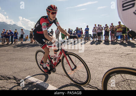 Tejay VAN GARDEREN Tour de France 2018 cycling stage 11 La Rosiere Rhone Alpes Savoie France - Stock Image