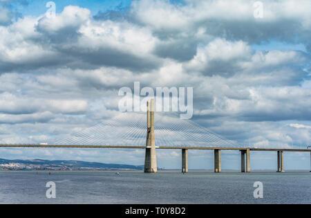 View on Vasco da Gama bridge. Lisboa, Portugal - Stock Image