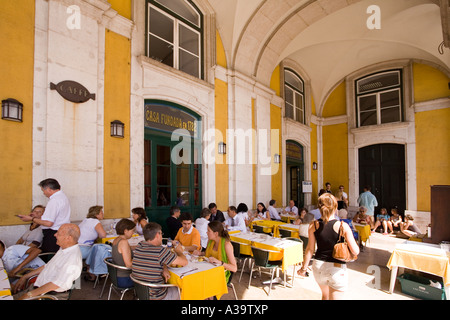Portugal Lisbon Cafe Praca de Commercio - Stock Image