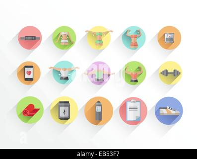 Dieting and fitness vectors in colourful tiles - Stock Image