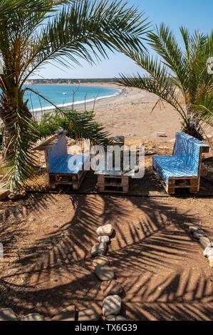 Lara Bay restaurant, Akamas Peninsula, Cyprus - Stock Image
