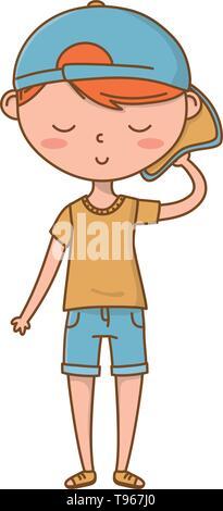 Stylish boy blushing cartoon outfit shorts backwards cap  isolated vector illustration graphic design - Stock Image