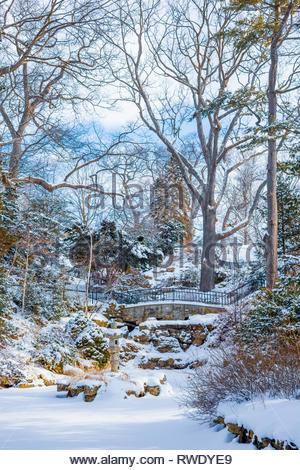 Hillside gardens in winter in High Park a formal ornamental garden in Toronto Ontario Canada - Stock Image