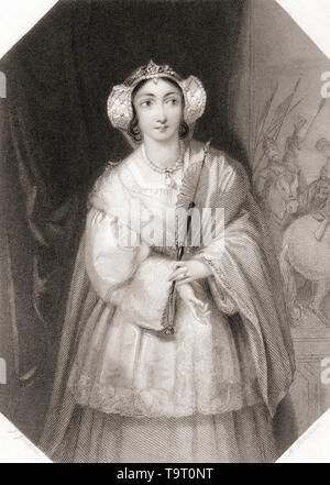 Lady Percy.  Principal female character from Shakespeare's play King Henry IV.  From Shakespeare Gallery, published c.1840. - Stock Image