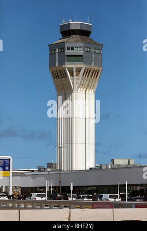 Control tower, Luis Muñoz Marín International Airport, San Juan, Puerto Rico - Stock Image