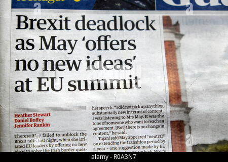 'Brexit deadlock as May 'offers no new ideas' at EU summit' Guardian newspaper headline on 18 October 2018 in London England UK - Stock Image