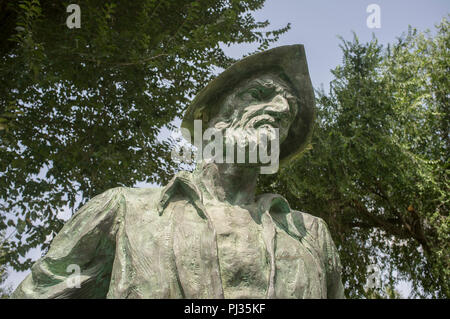 Badajoz, Spain - September the 3rd, 2018: Francisco Pizarro Spanish Conqueror of Inca Empire. Sculpture made by Estanislao García - Stock Image