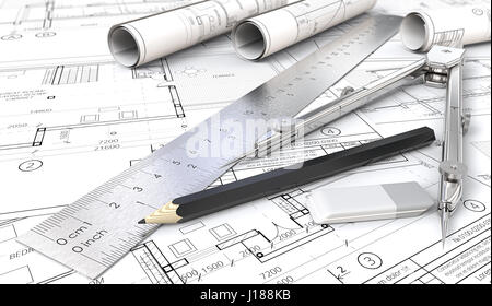 Architectural house drawings and blueprints. Rolls, Ruler, Pencil, Eraser and Divider of metal. Shallow depth of - Stock Image